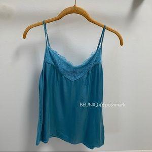 Massimo Dutti turquoise tank camisole lace top